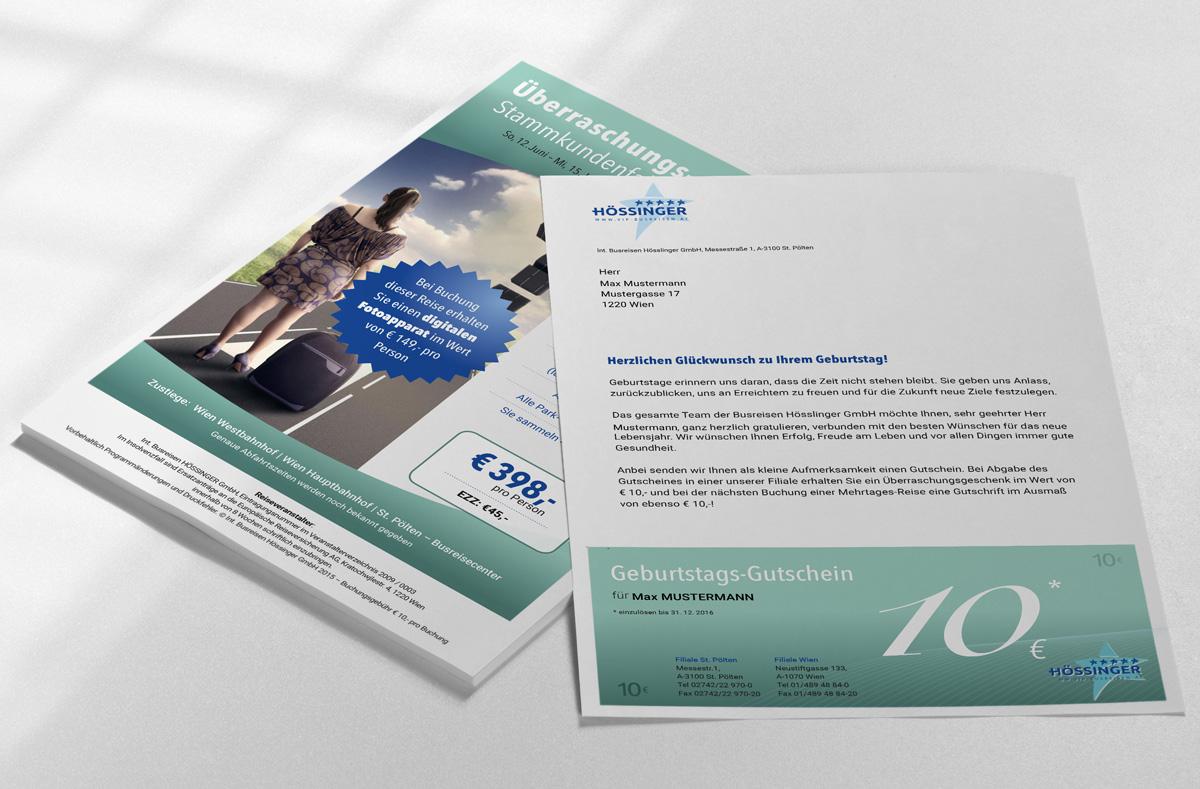 Design-Konzept, Schriftkonzept und Formensprache Briefsorten Busreisen Hössinger GmbH