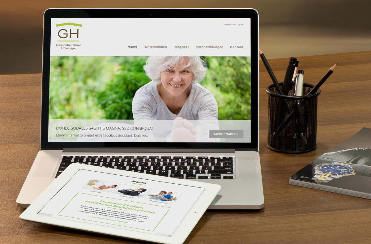 Gesundheitshaus Hössinger Logo-Redesign, Webdesign und Umsetzung Wordpress Website