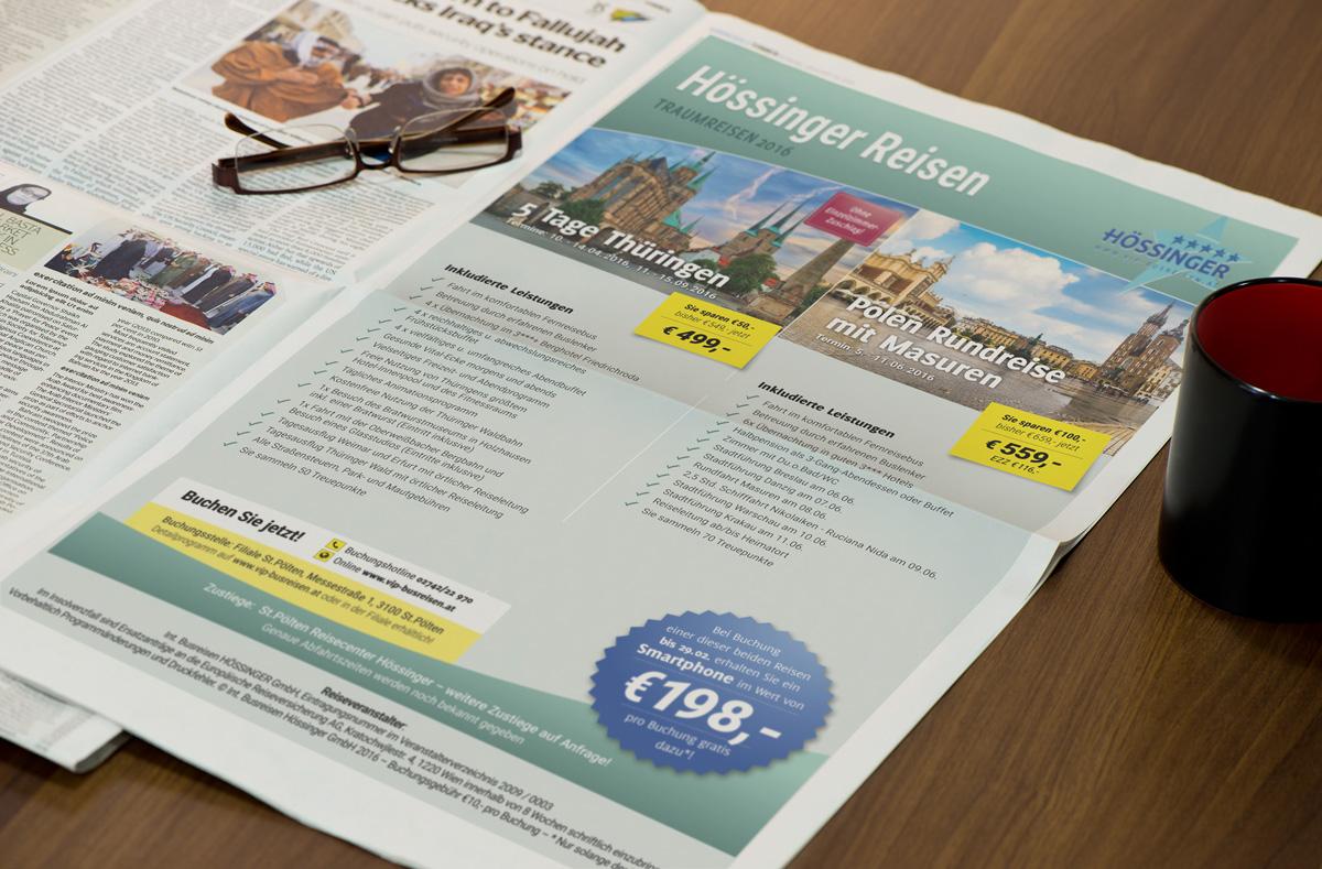 Design-Konzept, Schriftkonzept und Formensprache Inserat Busreisen Hössinger GmbH