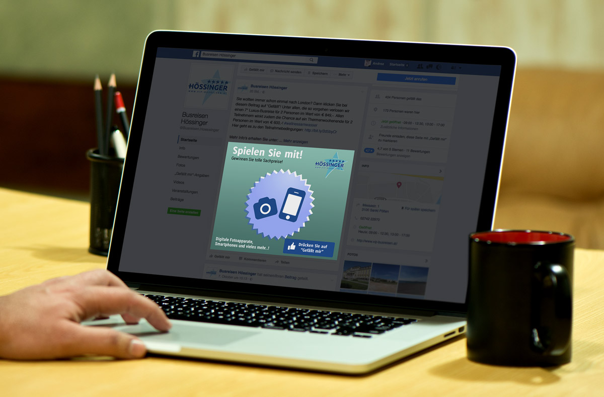 Design-Konzept, Schriftkonzept und Formensprache Social Media Facebook Busreisen Hössinger GmbH